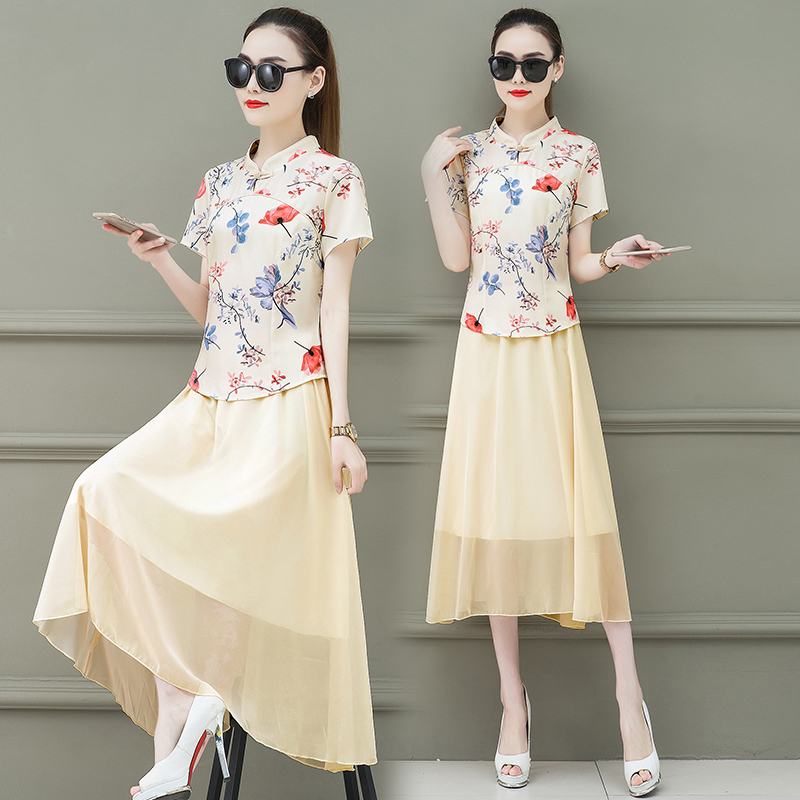 Femmes jupe deux pièces vêtements ensemble costume nouvel été amélioré qipao tenue haut jupes chinois mode vintage vêtements vesitdos