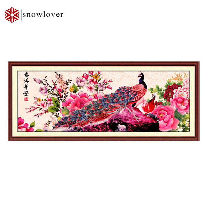 Snowlover Needlework Embroidery DIY Landscape Painting embroidery Cross stitch kits 11ct peacock home Cross stitch christmas