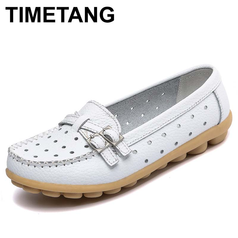 TIMETANG Shoes Woman Genuine Leather Women Shoes Flats 8 Colors Buckle Loafers Slip On Women's Flat Shoes Moccasins Plus Size Q5 timetang spring womens ballet flats loafers soft leather flat women s shoes slip on genuine leather ballerines femme chaussures