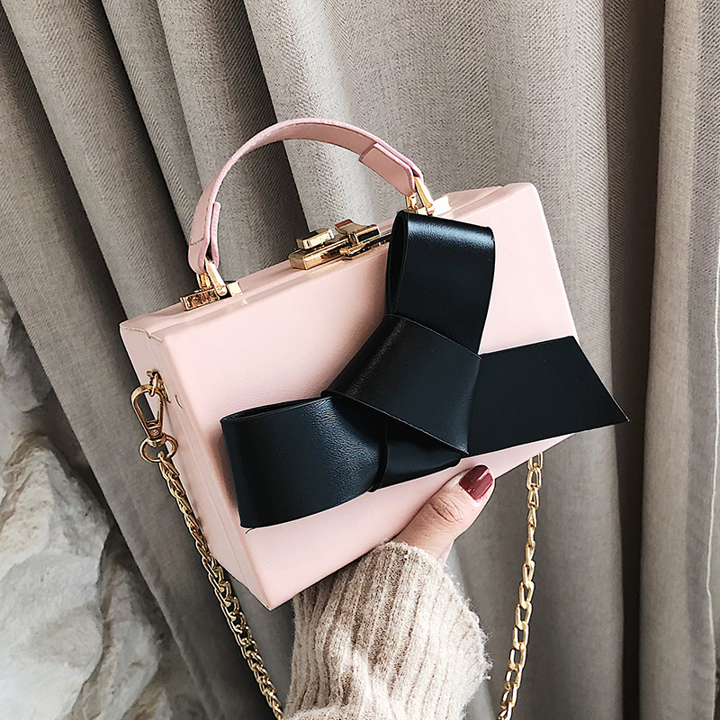 Sweet Girl Box Tote bag 2019 Fashion New Quality PU Leather Women's Designer Luxury Handbag Bow Chain Shoulder Messenger bags 3