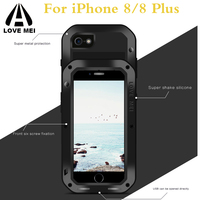 for iPhone 7 LOVE MEI Life Waterproof Metal Case for iPhone 8 iPhone X SE 5 5c 6 Plus Armor Shockproof Case Cover+tempered glass