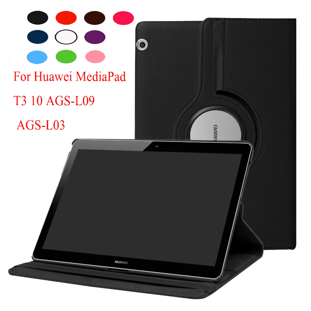 For Huawei MediaPad T3 10 9.6 AGS-L09 AGS-L03 Case 360 Degree Rotating Litchi PU Leather Stand Cover + Screen Film+Stylus Pen magnet stand cover case for huawei mediapad t3 10 ags l09 ags l03 9 6 inch tablet pu leather cover protective case film pen