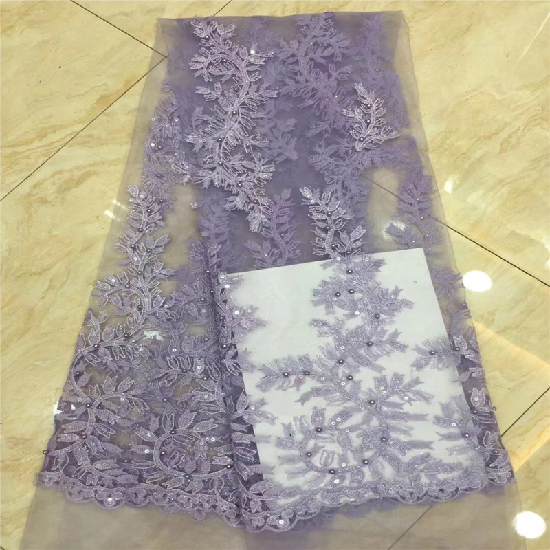 VILLIEA 2019 Latest African Tulle Lace Fabric High Quality African Lace Fabric Lilac French Mesh Laces