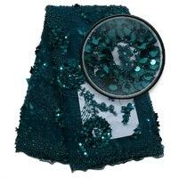 Горячая Распродажа 3D Цветы кружевная ткань Африканская ручная работа бисерная кружевная ткань с пайетками нигерийский французский Тюль кр...