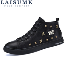 LAISUMK Men Casual Shoes Black Bottoms Shoes Men Sneakers High Top Leather Shoes Men Flats Chaussure Homme Zapatos Hombre цены онлайн