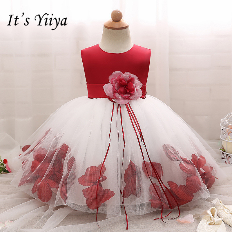 It's yiiya New Fashion Petal   Flower     Girl     Dresses   Elegant O-neck Panelled   Girl     Dress   B012