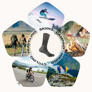 Image 5 - 3pairs/bag Vihir Men Winter Cushioned Merino Wool Socks High Knee Outdoor Sports Hiking Camping Climbing Socks Cycling Ski Socks