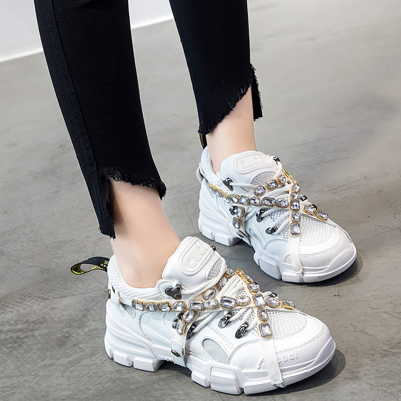 Spring Mesh Women diamond Casual Women rhinestone Shoes Flats Platform Lace-Up Fashion crystal Women Sneakers zapatos de mujer
