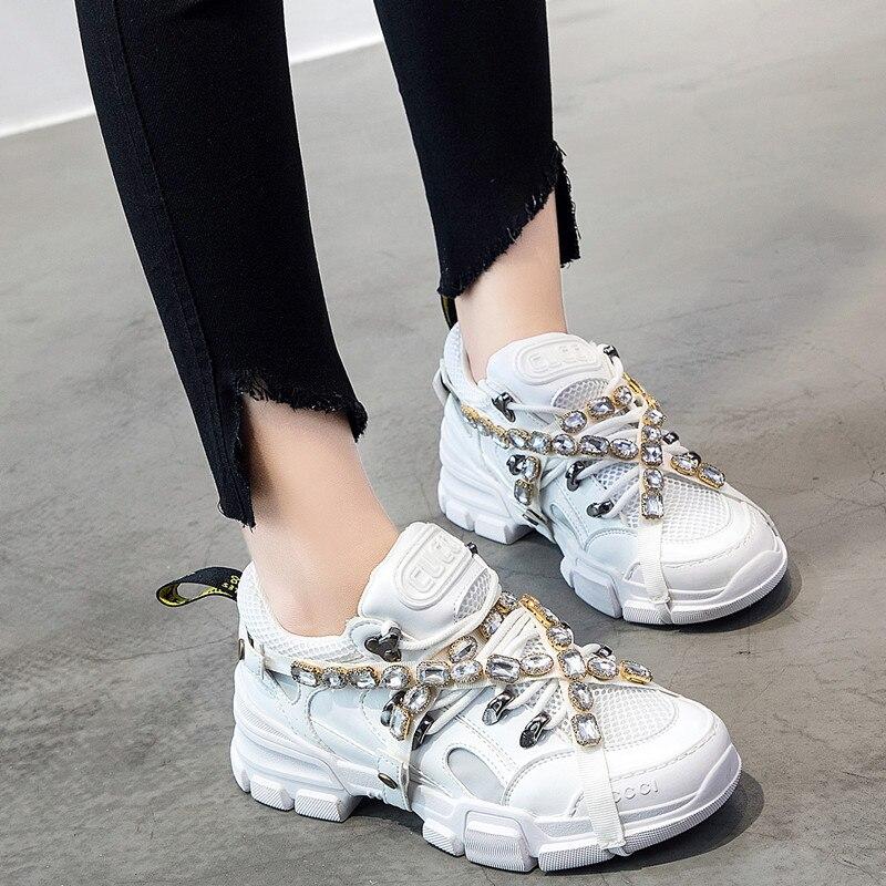 Printemps maille femmes décontracté femmes strass chaussures appartements plate-forme à lacets mode cristal femmes baskets zapatos de mujer