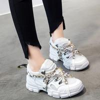 Spring Mesh Women diamond Casual Women rhinestone Shoes Flats Platform Lace Up Fashion crystal Women Sneakers zapatos de mujer