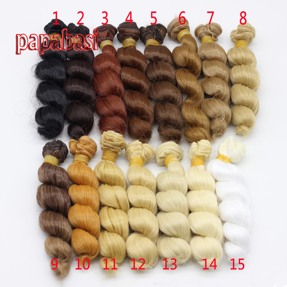Papabasi 15cm x 100cm natural color high temperature curly doll wig hair for 1/3 1/4 1/6 BJD diy