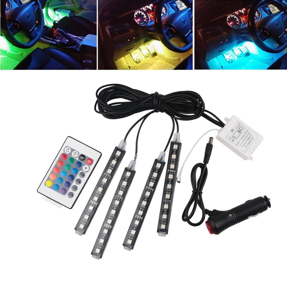 FISHBERG 12v RGB Car Led Strip Light Atmosphere Wireless Remote Lamps Car Interior Decoration Light With Remote 12V Auto Lamp