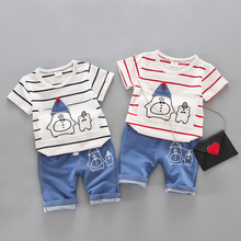 Summer Baby Boys  Clothes for Boy T-shirt and Pants Children Clothing 1 2 3 4 5 Years Fashion Cotton Letter Print Sport Suit iyeal kid baby boys clothes set casual cotton letter tops t shirt long pants for children toddler baby tracksuit 1 2 3 4 years