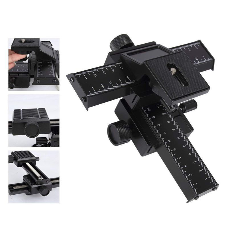 4 Way Focusing Rail Slider Bracket for DSLR Camera Macro Focus Photography for Canon Nikon Sony (Black) image