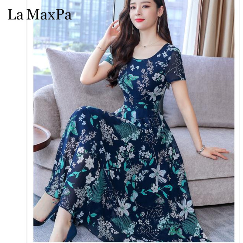 La MaxPa Dress Of The Big Sizes Fashion Print Chiffon Dress 2019 New Summer O Neck A-Line 3XL Plus Size Causal Dresses 2