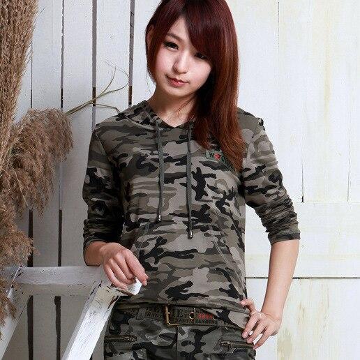 Mulheres Moda de nova Camuflagem Camisetas Legal do Estilo Coreano Camisetas Hoodies Das Mulheres Longa Camisetas para o transporte por atacado e livre