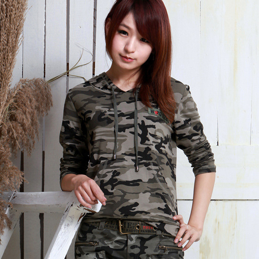 New Fashion Women Camouflage T-shirts Cool Korean Style T-shirts Women Long Hoodies T-shirts for wholesale and free shipping