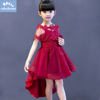 Elegant Flower Girl Dress For Braces Weddings Appliques Red Wine Tulle Dresses Shawl Baby Evening Party