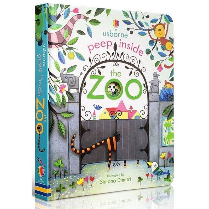Usborne Peep Içinde Hayvanat Bahçesi Hayvan İngilizce Eğitim 3D Flap Resimli Kitaplar Bebek Çocuk Okuma Kitabı