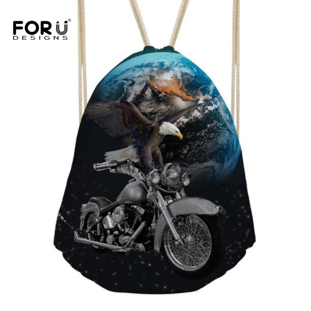 FORUDESIGNS Travel Men Backpack Fashion Eagle Motorcycle Casual Brand Small Drawstring Bag Men's Mochila Kids Schoolbags Bagpack