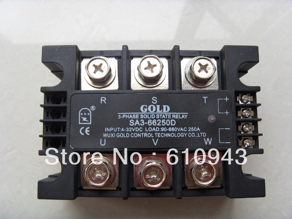 Three phase solid state relay SA366250D 250A 90-660vac new and original sa366200d sa3 66200d gold 3 phase solid state relay 4 32vdc 90 660vac 200a
