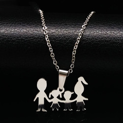 Doll mama girl boy silver color stainless steel necklaces for kid family necklace for women jewelry.jpg 250x250