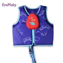Erapinky Blue Dinosaur Kids Life Vest Children Life Jacket Baby Swimming Trainer Zipper Cover Water Floats Toddler Pool Wear(China)