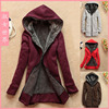 Free Shipping 2012 Autumn And Winter Women Fleece Thick Hoodie Warm Korean Style Long Sleeve Outwear