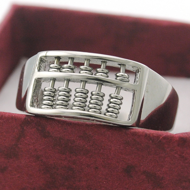 Dolaime New charm men women rings retro design cool high polished luck money abacus ring nice party gifts GR376