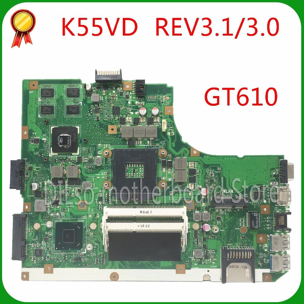 KEFU K55VD For K55VD A55V K55A Mainboard REV3.0 GT610 For ASUS K55VD A55V Motherboard Non-Integrated  Test Motherboard