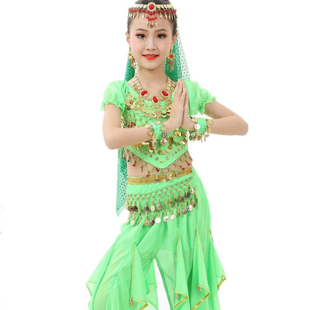 4aba14dfdd7e 2018 Girl Children Belly Dance Costumes 2Pcs 6Pcs Chiffon 120D ...