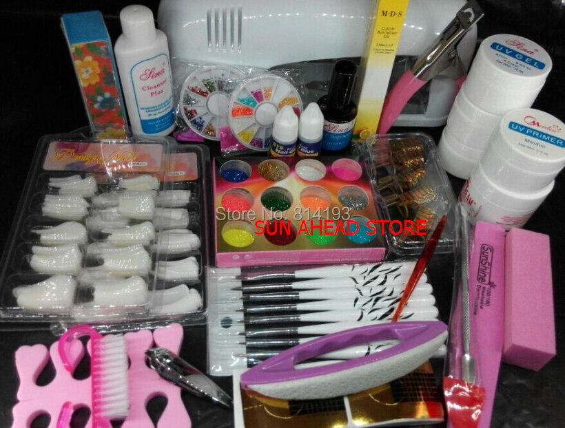Pro Nail Art UV Gel Kits Tools Pink UV lamp Brush Tips Glue Acrylic Powder Set #20 2018 2018 pro uv gel nail art sets tool kits uv lamp brush remover rhinestones nail half tips cleanser plus acrylic ms coco set