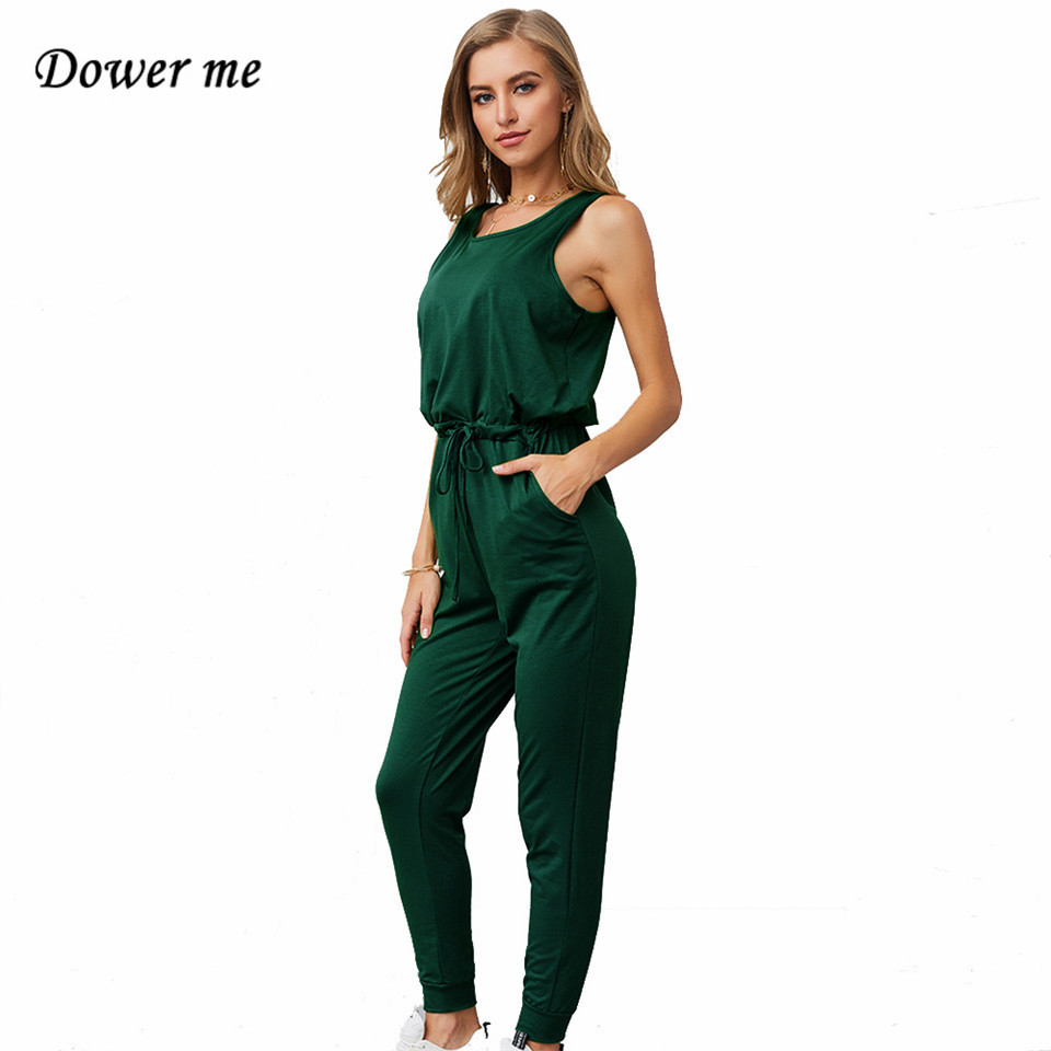Women's Clothing Dower Me Sleeveless Jumpsuits Cotton Lace Up Solid Casual Ankle-length Long Women Yellow Gray Blue Green Bandage Bodysuits Y046 Fixing Prices According To Quality Of Products