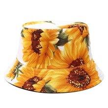 Printed Sunflower Bucket Hat Caps Women Fisherman Panama Cotton Layer Fabric Sun Hats Casual Men Fashion Flat