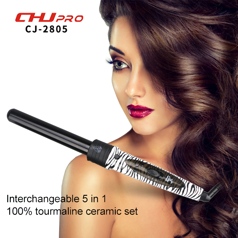 Ceramic Curling Wand 5 in 1 Curling Wand Interchangeable Hair Curler Professional Roller Hair Styling Tools With Glove #CJ-2805 15 25mm ceramic bead hair curler roller 110 240v 60w hair curling irons professional ptc heating curl hair style tool with glove
