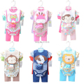 New 6 Colors Baby High Quality Cartoon Cute Short Sleeve Rompers+T-shirt +Pants+Bib+Socks FIVE pieces Infant Summer Wear