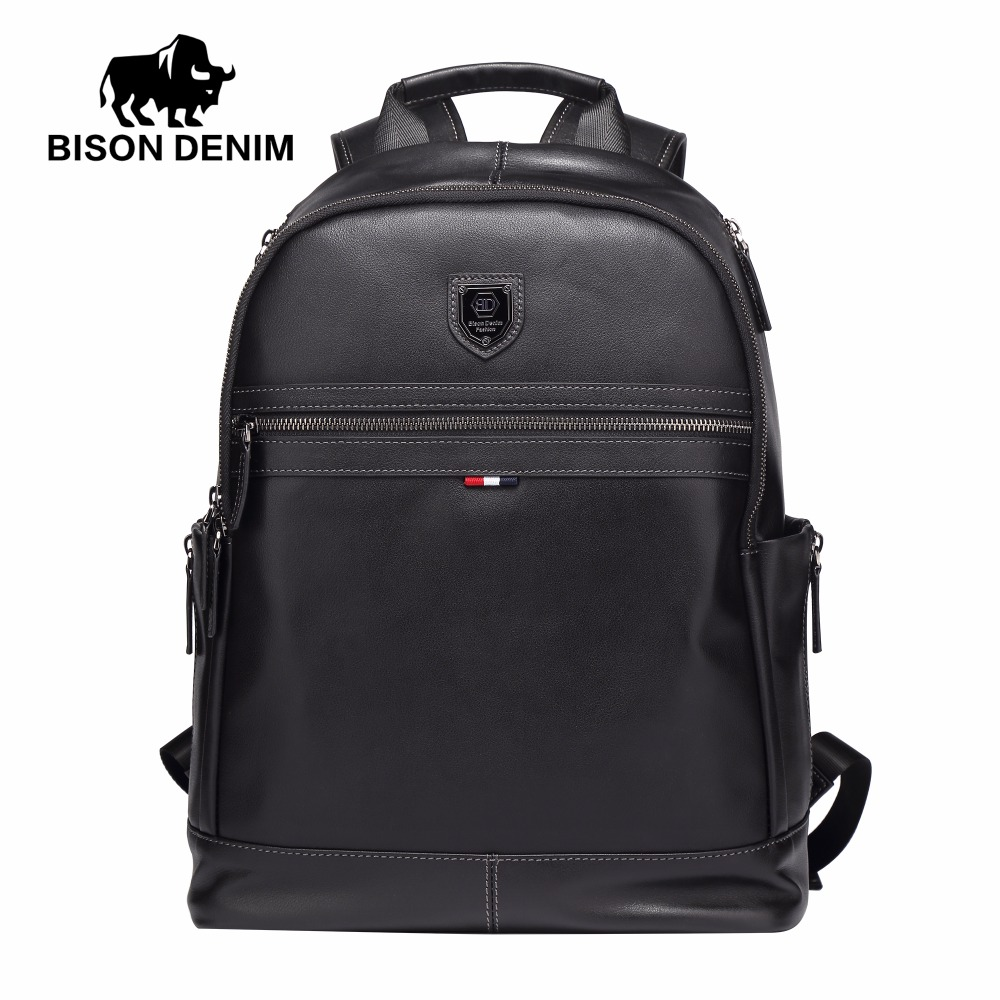 BISON DENIM Fashion Business Backpack 15.6 Laptop Genuine Leather Backpacks with USB charging Travel Male Backpack N2579-1B бинокль eschenbach bison 8 х 42 b