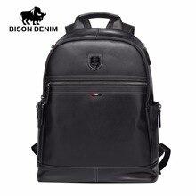 """BISON DENIM Fashion Business Rucksack 15,6 """"Laptop Echtem Leder Rucksäcke mit USB-lade Reise Männlichen Rucksack N2579-1B"""
