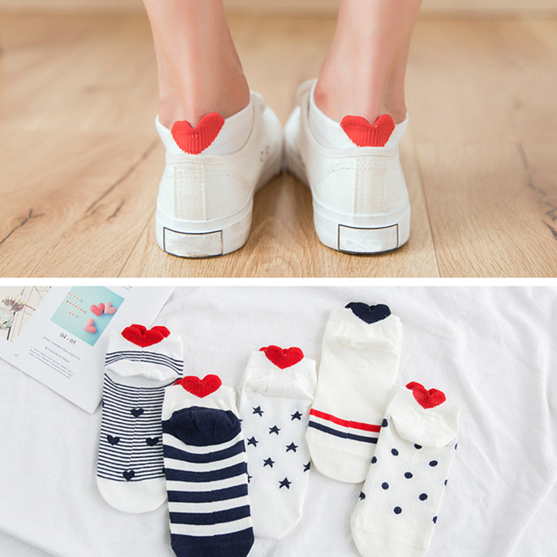 Women Cotton   Socks   Pink Cute Cat Ankle   Socks   Short   Socks   Casual Animal Ear Red Heart Gril   Socks   5pairs 35-40