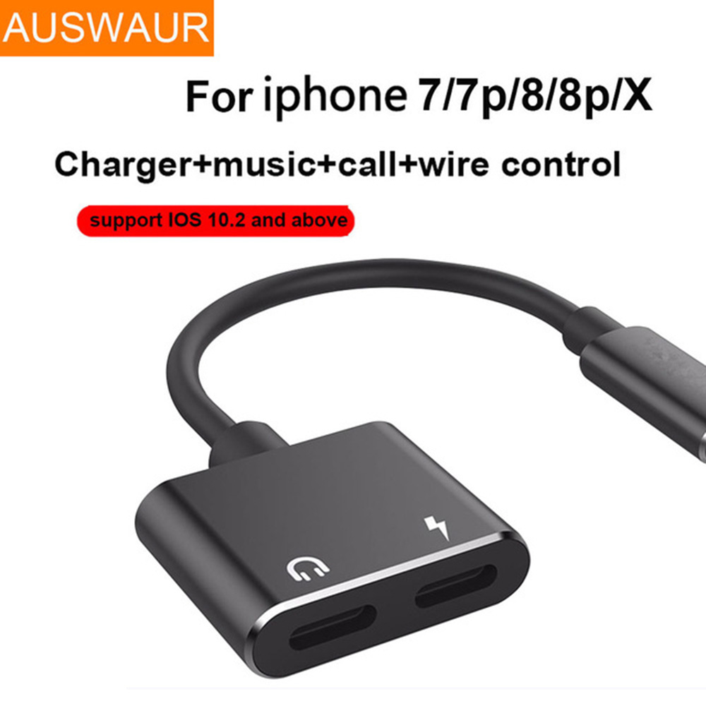 2 in 1 headphone audio charger adapter for iphone 7 8 plus. Black Bedroom Furniture Sets. Home Design Ideas