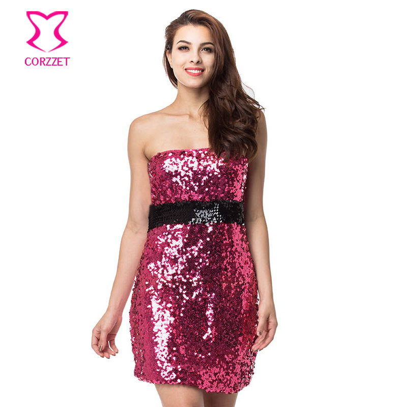 Rose /Black Dazzling Sequin Dress Women Party Dresses Large Sizes <font><b>Robe</b></font> <font><b>Femme</b></font> ete <font><b>2017</b></font> <font><b>Sexy</b></font> Mini Club Dress Vestidos Mujer image