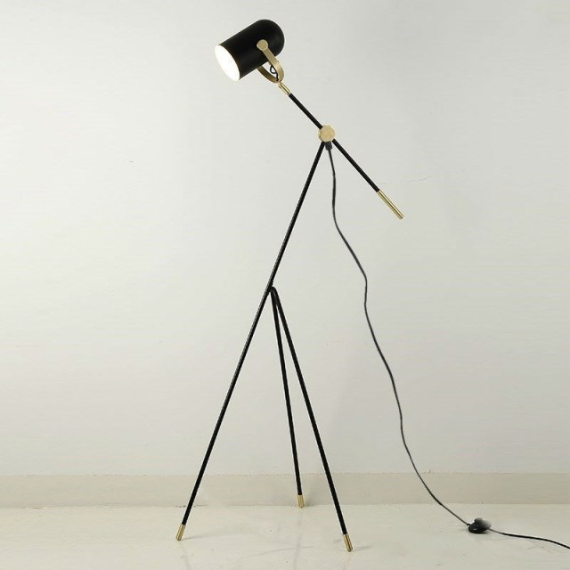 Lamp Tripod Floor Lamp Tripot Nightstand Lamp Chinese Industrial Floor Lamp  Black Metal Shade E27 Bulb