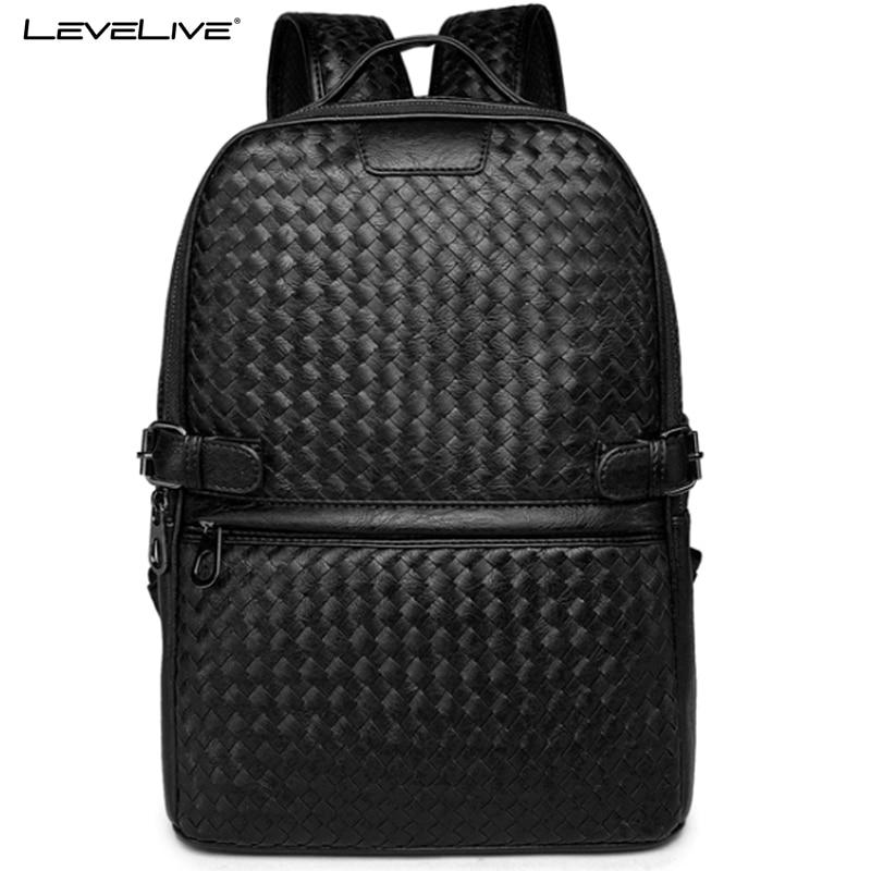 LeveLive Men Black Weave Leather Backpack Male Bagpack School Bag for Teenagers Men's Laptop Bag Mens Travel Backpacks mochilas