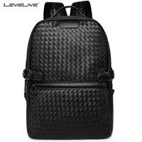 LEVELIVE Luxury Men Weave Leather Backpack Male Bagpack School Bag Business Men S Laptop Bag Famous
