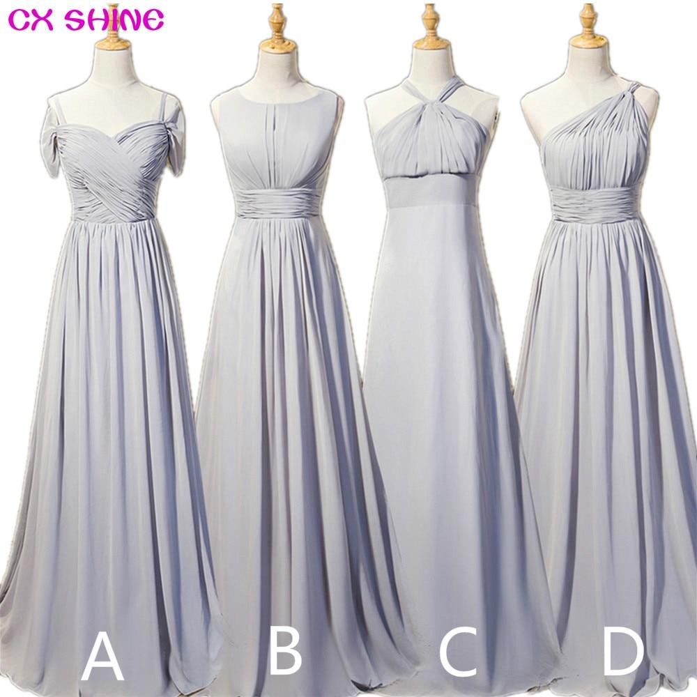 CX تألق جديد مخصص اللون الشيفون 4 نمط رمادي طويل وصيفة الشرف فساتين رخيصة الزفاف فستان حفلة موسيقية اللباس زائد الحجم vestidos
