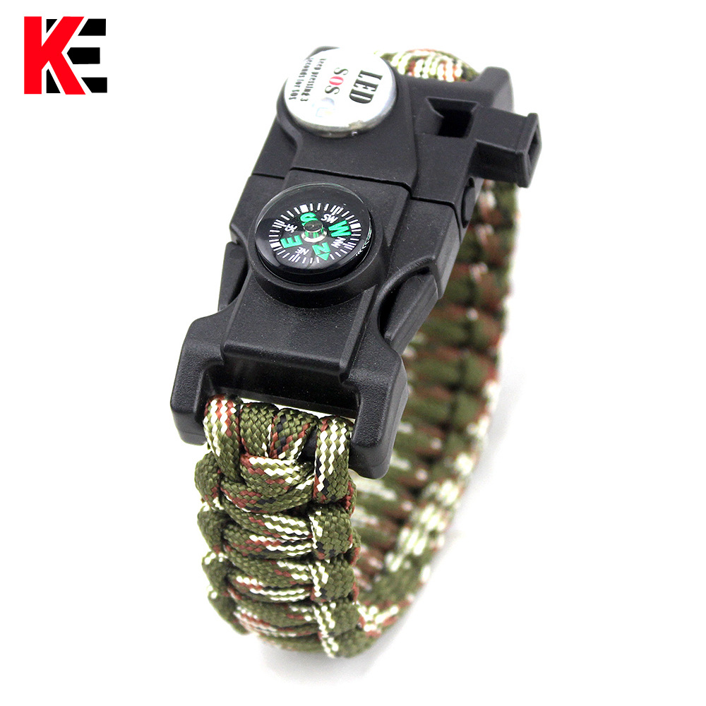 Outdoor EDC Tool Survival Bracelet With SOS LED Light Camping Paracord Rope Multifunctional Survival Whistle Compass Bracelet(China)