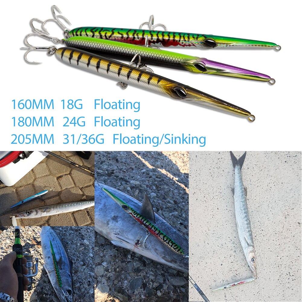 Stylo aiguille chasse leurre de pêche longue coulée crayon collante appât flottant et coulant 205mm 31/36g à sauter poisson de garde sphyraena pesca