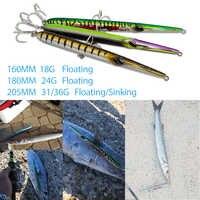 Señuelo de pesca de estilo de aguja de Hunthouse lápiz de fundición larga cebo flotante y hundimiento 205mm 31/36g sphyraena pesca
