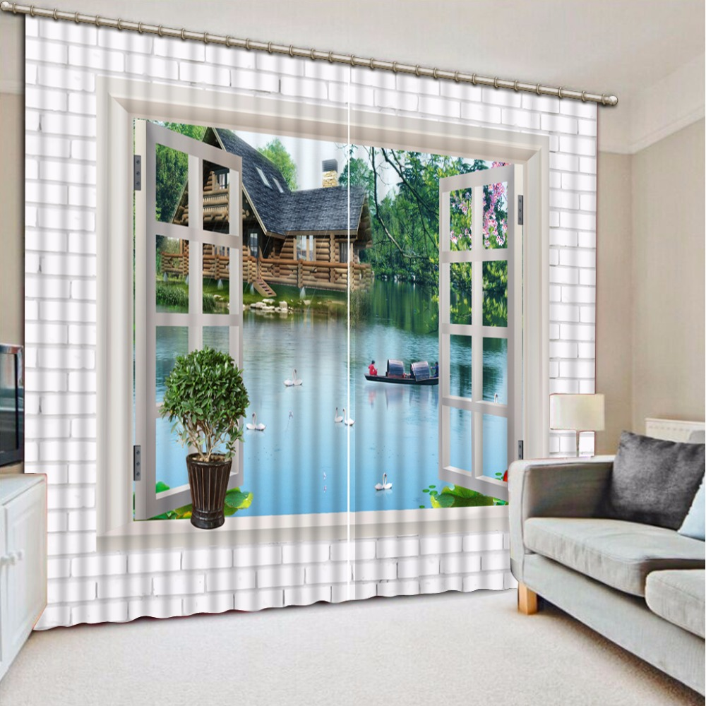 3D Curtain Fashion Customized Boat Scenery Outside The Window Curtains For Bedroom New Custom 3D Beautiful Blackout Shade