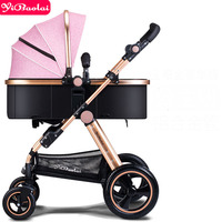 Baby stroller Europe High View trolley Can Sit and Lie 2 in 1 strollers Foldable 8 Gift Four Wheel Umbrella carts